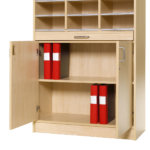 Practical lockable cupboard. Adjustable shelving with space for two rows of A4 files or other office stationery.