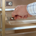 As an optional extra, IP-cabinet can be fitted with lockable slots, frosted in Acrylic for 115 mm pigeon-holes.